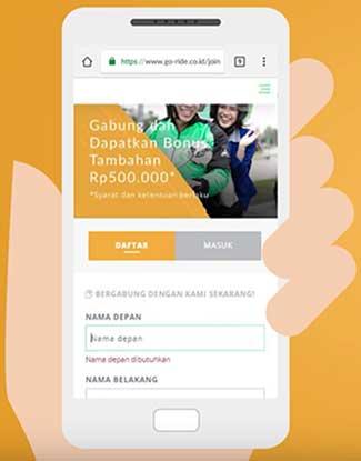 Buka link pendaftaran Gojek