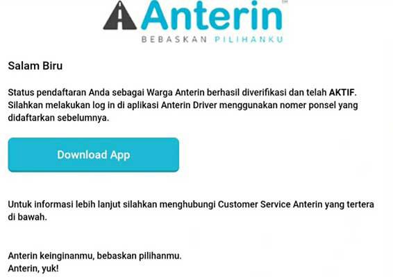 verifikasi driver Anterin