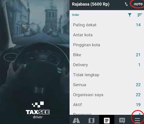 Jalankan aplikasi Taxsee Driver