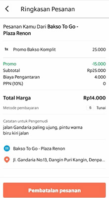 Cancel order GrabFood