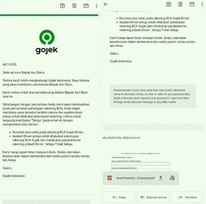 email rekening baru