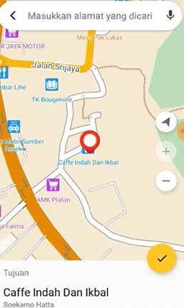 lokasi tujuan pengantaran