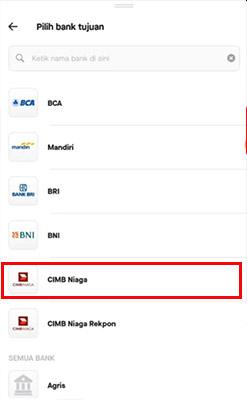 pilih bank go pay