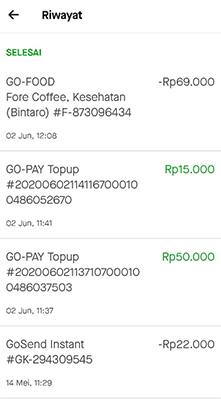 riwayat transaksi gopay