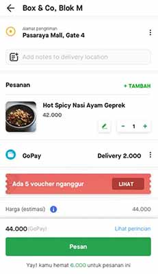 tarif go food