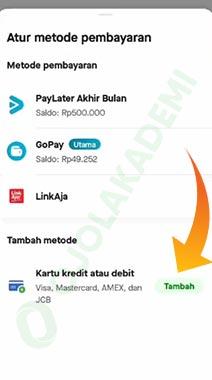 Cara Bayar Gojek dengan Kartu Kredit