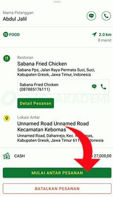 Menjalankan Order Nu Food