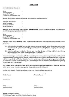 Surat Kuasa Pengalihan Rekening