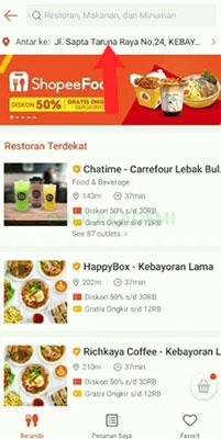 alamat Pesan Shopee Food