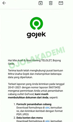 alamat email gofood