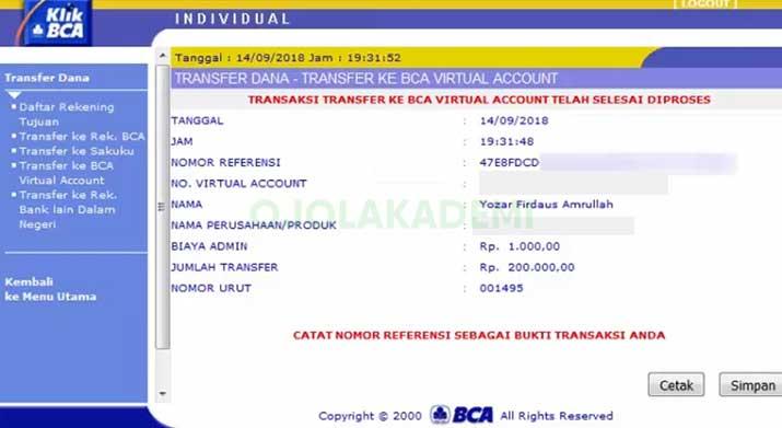 Isi saldo Grab Driver Via Internet Banking