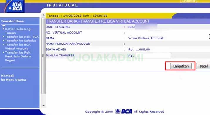 Top Up Grab Driver Via Internet Banking