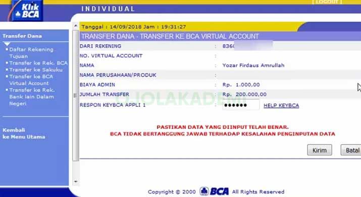 Top Up Grab Driver lewat Internet Banking