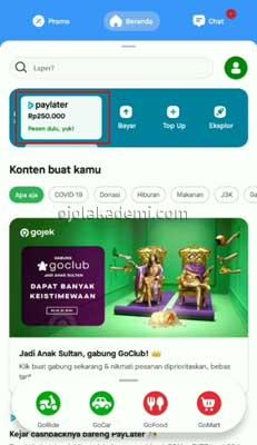 Transfer PayLater Gojek ke Rekening