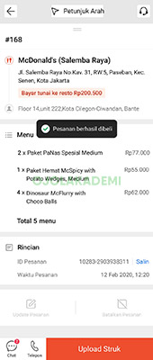 Upload Struk Pembayaran Shopee Food