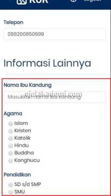 memasukkan informasi data