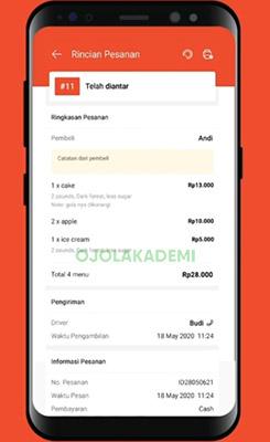 rincian pesanan Aplikasi Shopee Food Partner