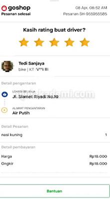 Nilai Rating Driver Gojek