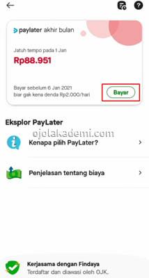 cara bayar paylater gojek tanpa aplikasi