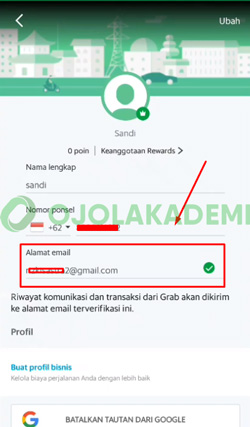 4 Klik Kolom Email