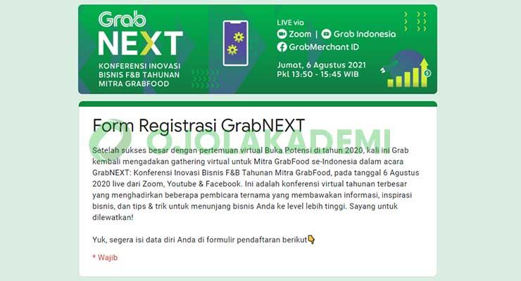1 Buka Link Pendaftaran GrabNEXT